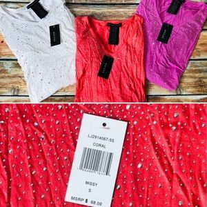 NWT 3 PC Design History BLING Sparkle Shirts